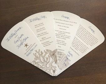 Fan Wedding Program // Beach Wedding Program // Sea Shell Wedding Program