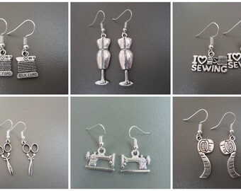 CHOOSE ONE PAIR: Sewing machine earrings - sewing earrings - dressmaker earrings - seamstress - gift for sewers - sewing jewellery