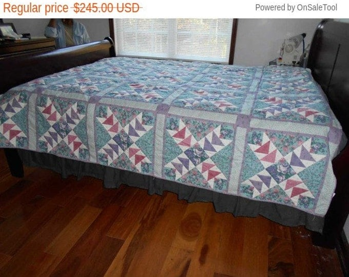 Sale: Bright Flying Geese Queen Quilt, Multi-colored Flying Geese Quilt and Hand Quilted Flying Geese Quilt
