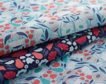 "PARK LIFE fabric by Elizabeth Olwen - Victorian Afternoon, Blue. Cloud 9 Fabrics. Organic cotton poplin. Half Metre/19.5"""