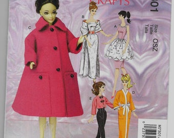 M7301 McCall's Barbie Retro Doll Clothes Sewing Pattern