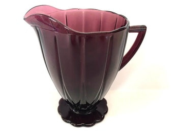 On SALE  Hazel Atlas Creamer Hazel Atlas Glass Creamer Purple Amethyst Glass