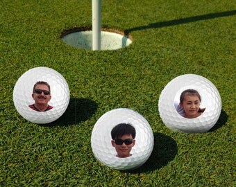 Family Photo Custom Golf Balls Set of 3 Printed Golf Balls,Fathers Day Gift,Gift for Grandfather,Birthday gift,Wedding Favor,Gift for dad