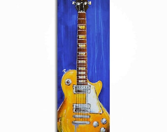 Guitar painting, Guitar wall art, Music Art, Music Artwork Gift for a musician, Les Paul, Original guitar painting on canvas by Magda Magier