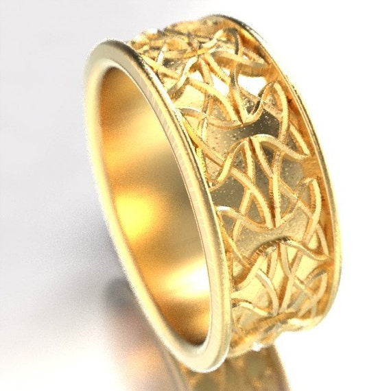 Celtic Wedding Ring With Raised Relief Dara Knotwork Design in 10K 14K 18K Gold, Palladium or Platinum Wedding Ring Made in Your Size CR-672