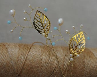 ivory blue hairpin leaf hairpins gold leaf hairpin ivory hairpiece two bridal pins pair wedding pins pearls pin pearl branch pin floral hair