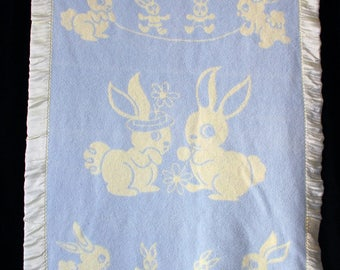 50% Off Sale - Vintage Baby Blanket Bunnies Pale Yellow Satin Edge SOFT Blue and Yellow Reverse Print 1940s-1950s