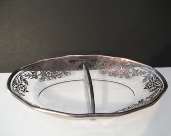 ON SALE Rockwell Sterling Overlay Divided Dish with Silver floral decor on rim, lovely relish - pickle - candy dish - mid century elegance