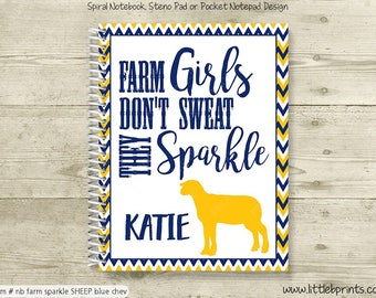 Livestock Sheep Personalized Notebook Steno Pad or Notepad Journal Spiral Bound Livestock Judging Fairs Farm