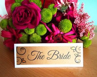 Be Our Guest Wedding Table Place Names SAMPLE. Kraft Card on Hammered White Card with Hand Painted Gold Leaves