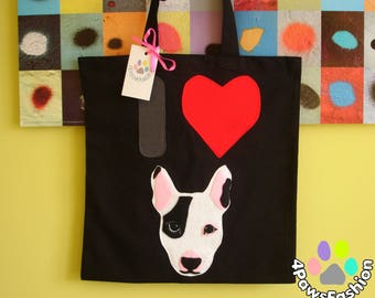 """Bullterrier canvas tote bag Eco friendly shopping bag Dog lover's gift Reusable grocery bag Birthday gift for her 15"""" x 16""""/ 4PawsFashion"""