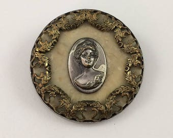 Victorian Lady Portrait Button Circa 1890