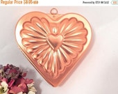 Heart Baking Pan Copper Colored Anodized Aluminum Gelatin Mold Wall Hanging Decorative Bakeware Vintage 1980's Kitchen Home Decor