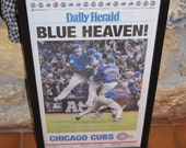1st Edition Chicago Cubs 2016 World Series Champions Custom framed newspaper rustic solid cedar complete paper mounted