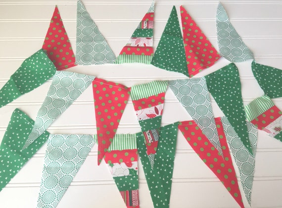 Christmas Fabric Scrap Garland in Red, Green, and White - Holiday, Party, Decor, Photography, Mantel, Decoration