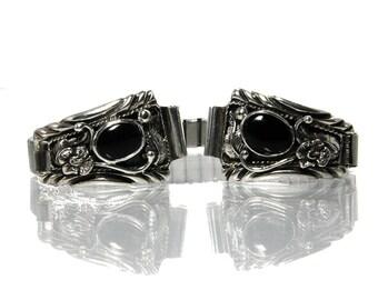 Vintage Southwestern Watch Bracelet With Black Onyx Navajo Design