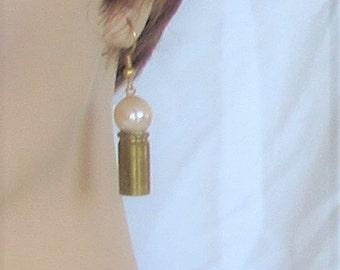 Pearl on a Bullet Casing, golden, ear wires, Earrings, B, Jewelry