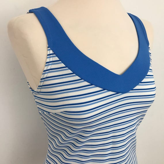 60s striped Mod top white and blue stripey vest Scooter Girl jersey stretch suntop 1970s 1960s