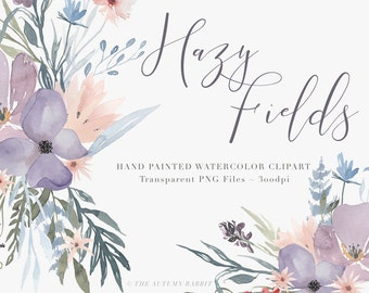 Watercolor Flowers  Clipart Files - High Res Transparent PNG - Hazy Fields Hand Painted Digital Scrapbook elements - Instant download