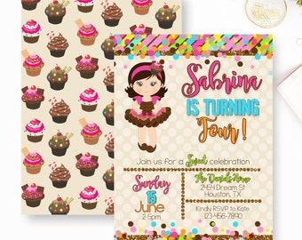 Cupcake Birthday Invitation, Girl Cupcake Tutu Birthday Invite, Sweet Cupcake Invite- YOU PRINT