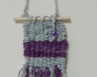 WOVEN HANGING FRAGRANCE    Wall Art Air Freshener . Hand Woven . Purple . Rear View Mirror Car Freshener . Wall Decor . Mini Weave Tapestry