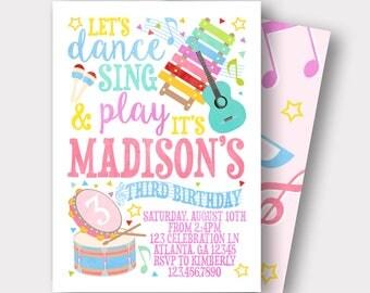 Music Birthday Invitation | Music Invitation | Rockstar Invitation | First Birthday Invitation | Singing Invitation | Dance Sing Play