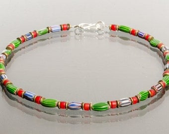 Necklace necklace Africa watermelon Chevron beads glass beads, brass washers