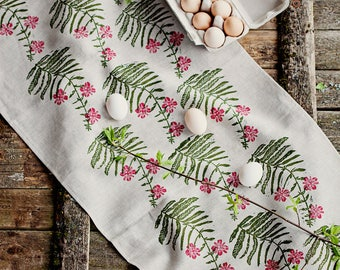 Linoblock printed linen table runner Fireweed