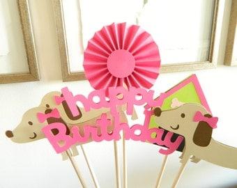 6 Girl Puppy Centerpiece Sticks, Puppy Birthday Party, Dog Birthday Party, Dachshund Party, Dachshund Birthday Party