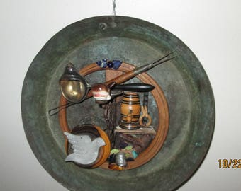 Whale and wine New Bedford, MA.  Copper pan mixed media folk art.