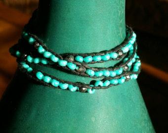 3 Layer Wrap-around Bracelet Turquoise color