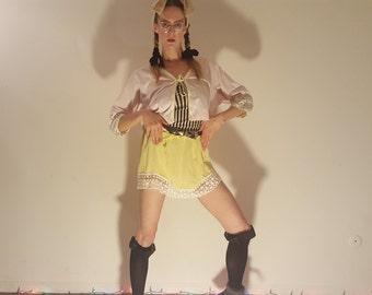 sweet yellow crepe & crochet skirt