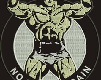 No pain no gain- body builder Machine Embroidery Design, Instant Download