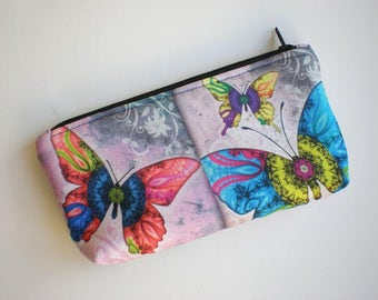 Makeup bag, cosmetic bag, zipper pouch, pencil case, butterfly, small bag, fabric pouch, printed pouch, gift for her