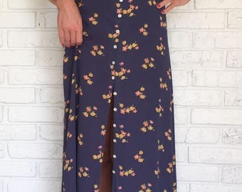 Vintage Floral Maxi Dress, extra small