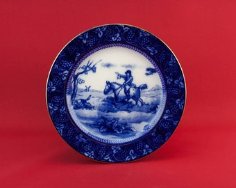 Pottery Antique Hunting Scene Serving BOWL Royal Doulton Table Gift Classical Arts Crafts English Early 1900s LS