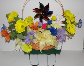 Adorable Easter Basket with Pinwheel for Childs Grave Cemetery Tombstone Saddle attached Custom Orders Welcome Colorful Silk Flowers Adorn