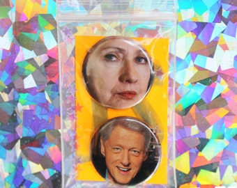 Hillary & Bill Clinton Button Set