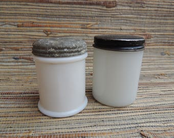 Vintage Milk Glass Cold Cream Jars With Original Lids Anchor Hocking