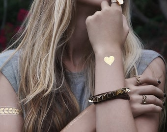 Heart of Gold Metallic Temporary Tattoo | Valentine Day Gift for Her