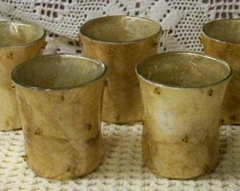 Set Of 5 Vintage Handmade Decoupage Candle Holders