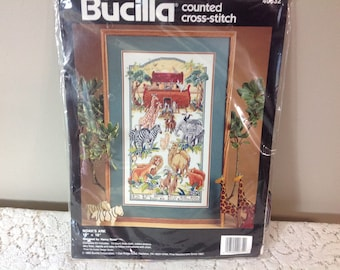 Noah's Ark And They Went Into The Ark Two By Two As God Commanded Bucilla Counted Cross Stitch Kit  by Nancy Rossi