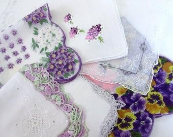 Wedding   Handkerchiefs , Vintage Hankies   ,  Hanky ,  Batiste  Embroidery , Purple   Handkerchiefs   - set of 6.