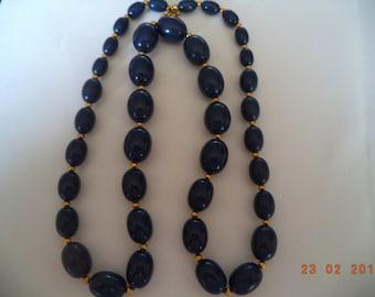Vintage Signed Monet Navy Blue Beads