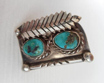 Sterling Silver and Turquoise Ring, Beautiful Unique Design Size 5