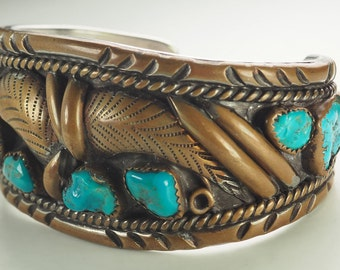 Native American South Western hand made copper turquoise bracelet