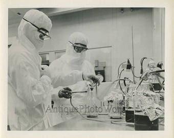 Measles vaccine scientists in laboratory vintage photo