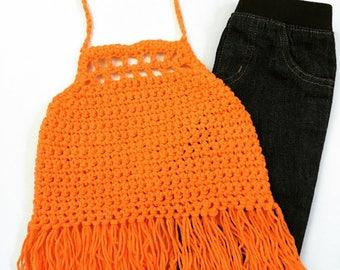 Oranget Crop Tops, Toddlers Crochet Halter Tops, Hippie Bo Ho Crochet Halters, Bohemian Crop Tops, Girls Crochet Halter Tops, Crochet Halter