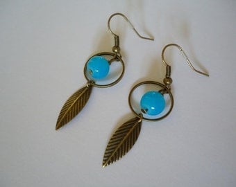 Bronze and blue earrings - Gypsy chic jewelry - Bohemian style