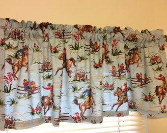 "Cowboy, Horses, Curtain Valance 41"" x 15"" in 100% Cotton - Handmade New."